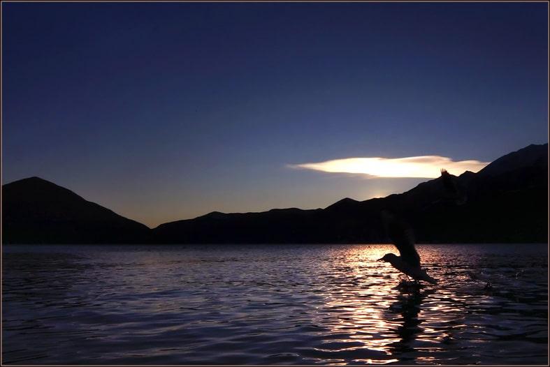 Start im Sonnenuntergang